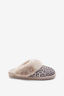 Grey Animal Suede Mule Slippers