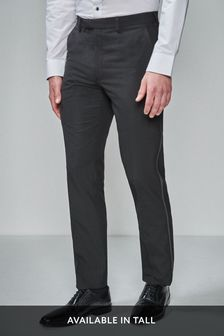Black Regular Fit Tuxedo Trousers With Contrast Tape Detail