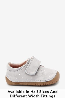 Grey Leather Wide Fit (G) Crawler Shoes