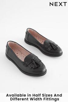 Black Standard Fit (F) Leather Tassel Loafers