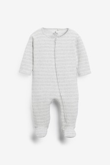 Grey Stripe Towelling Sleepsuit (0mths-2yrs)