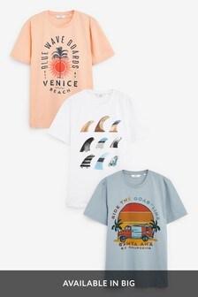 Multi Surf Graphic T-Shirts Three Pack