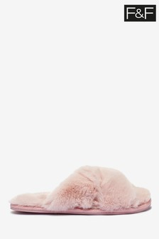F&F Pink Cross Over Light Slippers