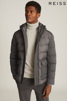 Reiss Grey Graydon Hooded Quilted Jacket