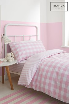 Check And Stripe Cotton Duvet Cover and Pillowcase Set by Bianca
