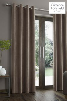 Catherine Lansfield Natural Faux Suede Eyelet Curtains