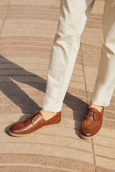 Brown Embossed Boat Shoes
