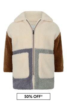 Girls Ivory Patchwork Coat