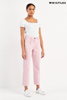 Whistles Pink Emma Panelled Jeans