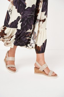 Taupe Leather Two Band EVA Slingback Wedges