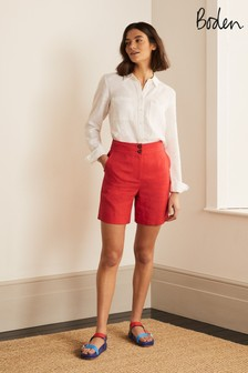 Boden Red Cornwall Linen Shorts