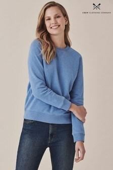 Crew Clothing Company Blue Brushed Back Crew Sweatshirt