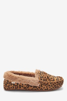Animal Suede Moccasin Slippers
