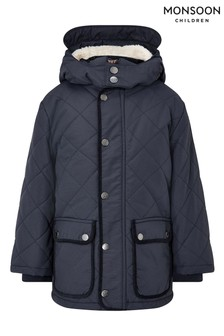 Monsoon Blue Boys Quilted Padded Coat