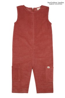 Turtledove London Cropped Cord Brick Dungarees