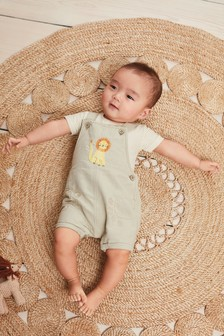 Tan Linen Dungarees And Bodysuit Set (0mths-2yrs)