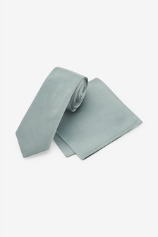 Sage Slim Silk Tie And Pocket Square Set