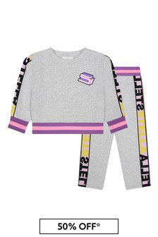 Girls Grey Logo Tape Tracksuit