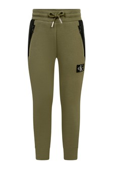 Boys Khaki Colourblock Joggers