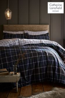 Brushed Cotton Tartan Check Duvet Cover and Pillowcase Set by Catherine Lansfield