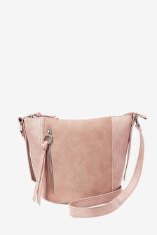Nude Zip Detail Across-Body Bag