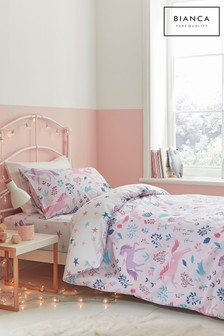 Woodland Unicorn And Stars Cotton Duvet Cover and Pillowcase Set by Bianca