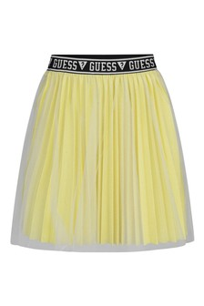 Girls Lime Green Metallic Skirt