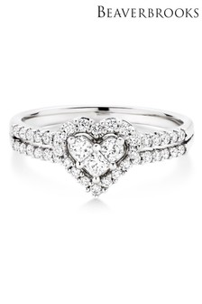 Beaverbrooks 18ct White Gold Heart Shaped Diamond Ring