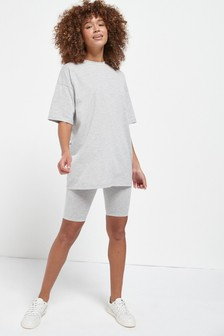 Grey Marl Oversized T-Shirt & Cycling Short Set