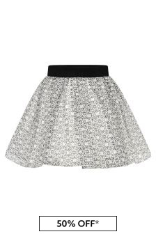 Girls Ivory & Black Silk Skirt
