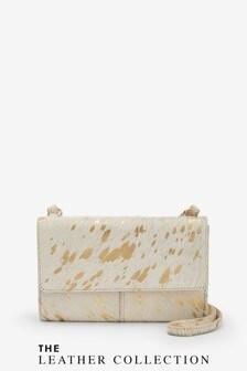 Metallic Cow Print Leather Across-Body Bag