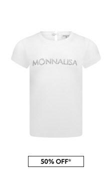 Monnalisa Baby Girls White Cotton Girls T-Shirt