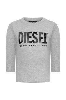 Baby Boys Grey Cotton Long Sleeve T-Shirt