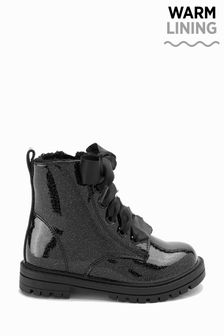Black Patent Standard Fit (F) Warm Lined Lace-Up Boots