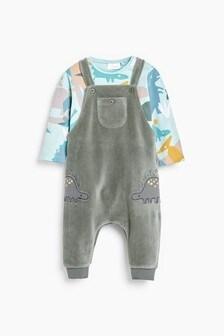 Teal Dinosaur Super Soft Velour Dungaree And Bodysuit Set (0mths-2yrs)