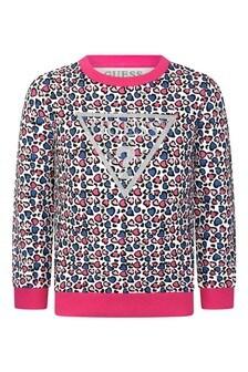 Girls Heart Print Cotton Sweater