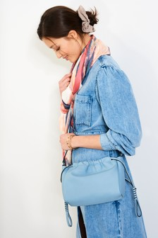 Pale Blue Drawstring Pouch Across Body Bag