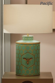Honeycomb Bee Hand Painted Metal Table Lamp by Pacific Lifestyle