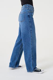 Dark Blue Super Soft TENCEL™ Blend Wide Leg Jeans