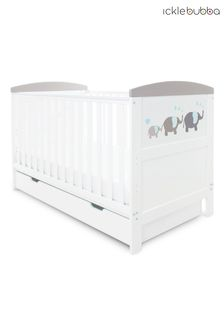 Grey Coleby Style Cot Bed and Under Drawer by Ickle Bubba