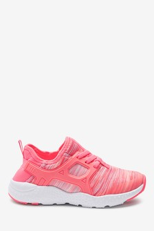 Fluro Pink Elastic Lace Trainers