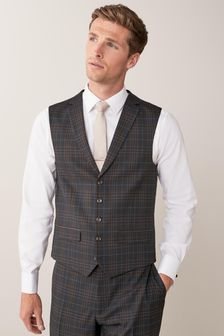 Navy Check Suit: Waistcoat