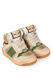 Kids Beige/Green Screener High Trainers