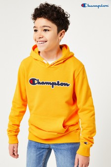 Champion Kids Large Script Logo Hooded Sweatshirt