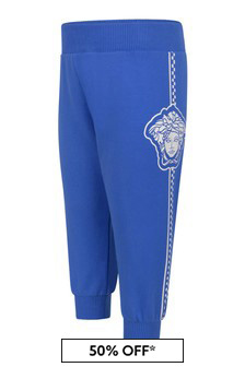 Baby Boys Blue Cotton Logo Joggers