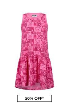 فستان قطن وردي بناتي منMoschino