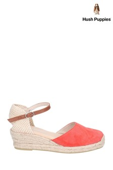 Hush Puppies Red Maya Wedge Buckle Strap Espadrilles