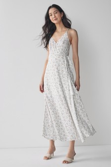 White Floral Wrap Maxi Dress