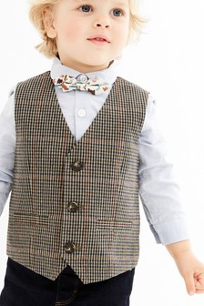 Brown Dogtooth Waistcoat, Shirt And Bow Tie Set (3mths-7yrs)