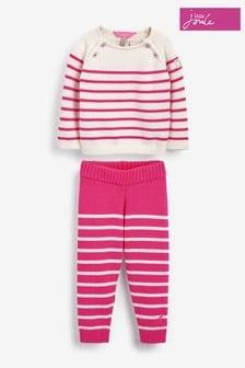 Joules Pink Georgia Appliqué Top And Leggings Set